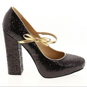 MIX NO. 6 Black Glitter Heels with Gold Accents